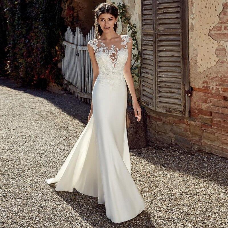 SATONOAKI Modest Soft Satin Bateau Neckline Mermaid Wedding Dresses With Lace Appliques Sheer Bridal Dress Illusion Back