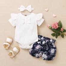 3 pçs bebê recém-nascido verão meninas roupas conjunto da criança botão macacão recém nascido infantil bonito outfit plissado manga curta shorts bandana
