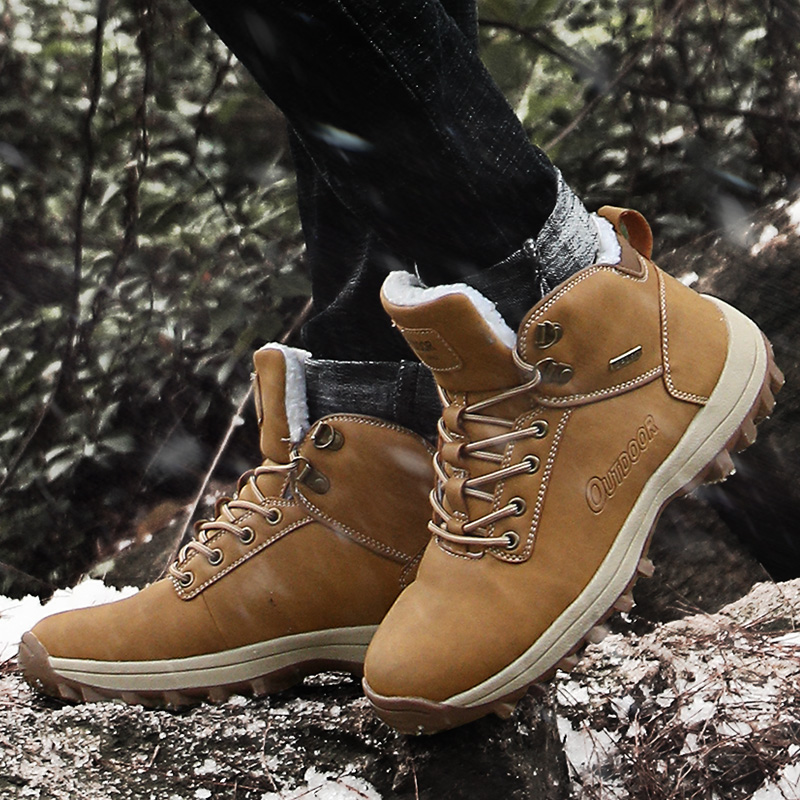Men Hiking Shoes Waterproof Leather Shoes Climbing & Fishing Shoes New Popular Outdoor Shoes Man High Top Winter Boots Large 48