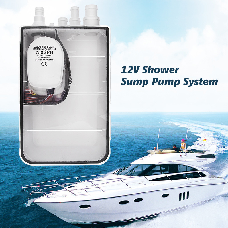 750GPH Boat Shower Sump Pump System Ignition Protected For Yacht Marine RV Camper Etc 47.5 L/Minute Boat Accessories Marine 2019