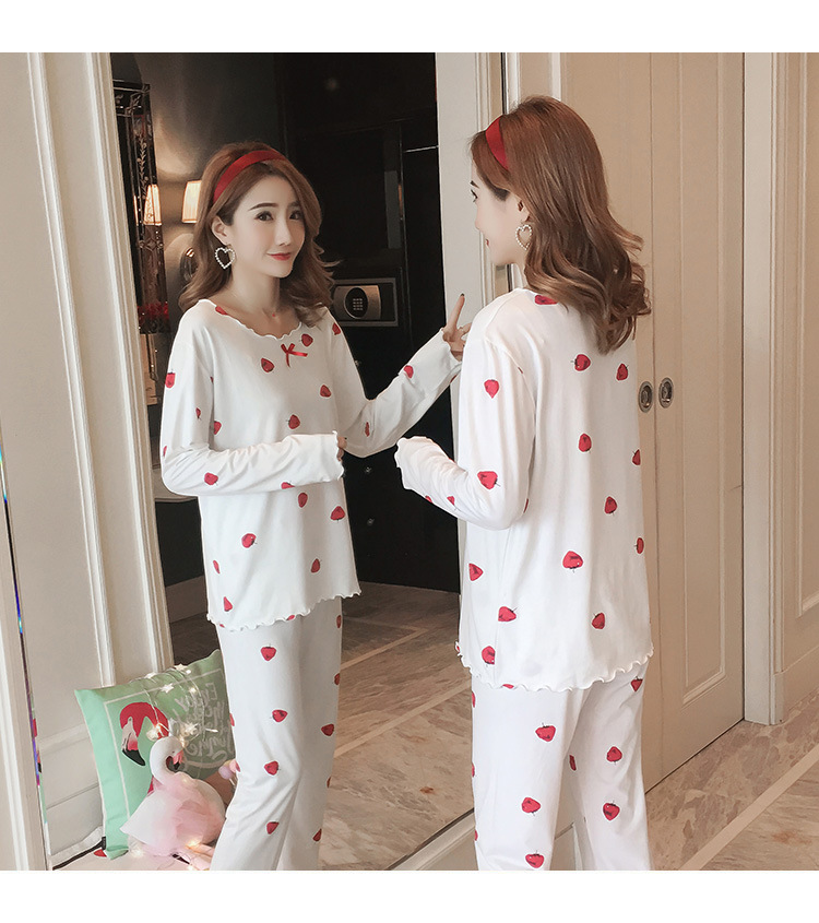 Autumn Women Cotton Pajamas Sets 2 Pcs Cartoon Printing Pijama Pyjamas Long Sleeve Bowknot Pyjama Sleepwear Sleep Set 69