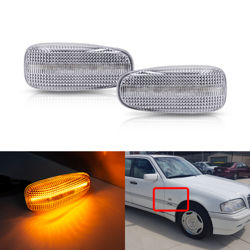 Front Bumper Amber Led Side Marker Lights For <font><b>Benz</b></font> <font><b>Vito</b></font> <font><b>W638</b></font> E C CLK SLK-Class Vaneo W414 Sprinter Auto Turn Signal Lamp image