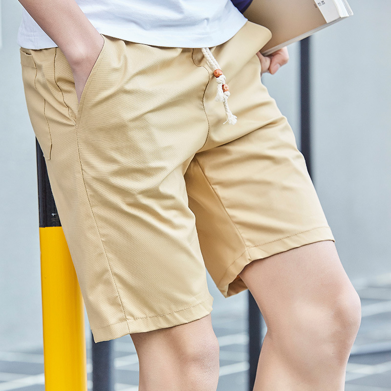 2017 Men Solid Color Casual Shorts Two Pieces Beads Shorts Summer Fashion Simple Paragraph Pants Men's