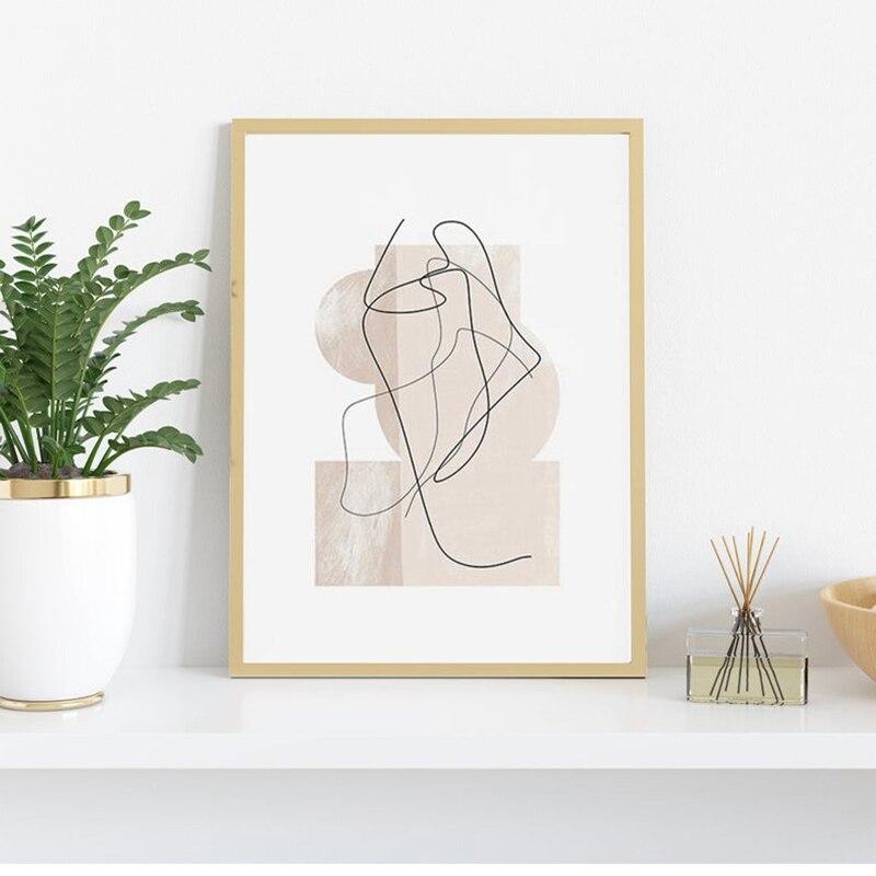 Pintura de arte contemporânea abstrata, arte de desenho de linha, pintura em tela, estilo minimalista, nórdico, decoração de sala de estar