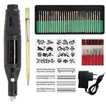 전기 마이크로 조각 펜 미니 Diy 조각 도구 키트 금속 유리 세라믹 플라스틱 나무 보석 스테이플러 Etcher 30 비트 및