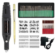 Electric Micro Engraving Pen Mini Diy Engraving Tool Kit Metal Glass Ceramic Plastic Wood Jewelry with Stapler Etcher 30 Bit and