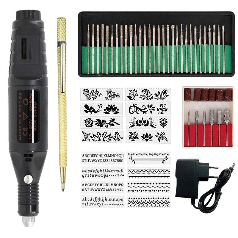 Elektrische Micro-Gravur Stift Mini Diy Gravur Werkzeug Kit Metall Glas Keramik Kunststoff Holz Schmuck mit Hefter Radierer 30 bit und