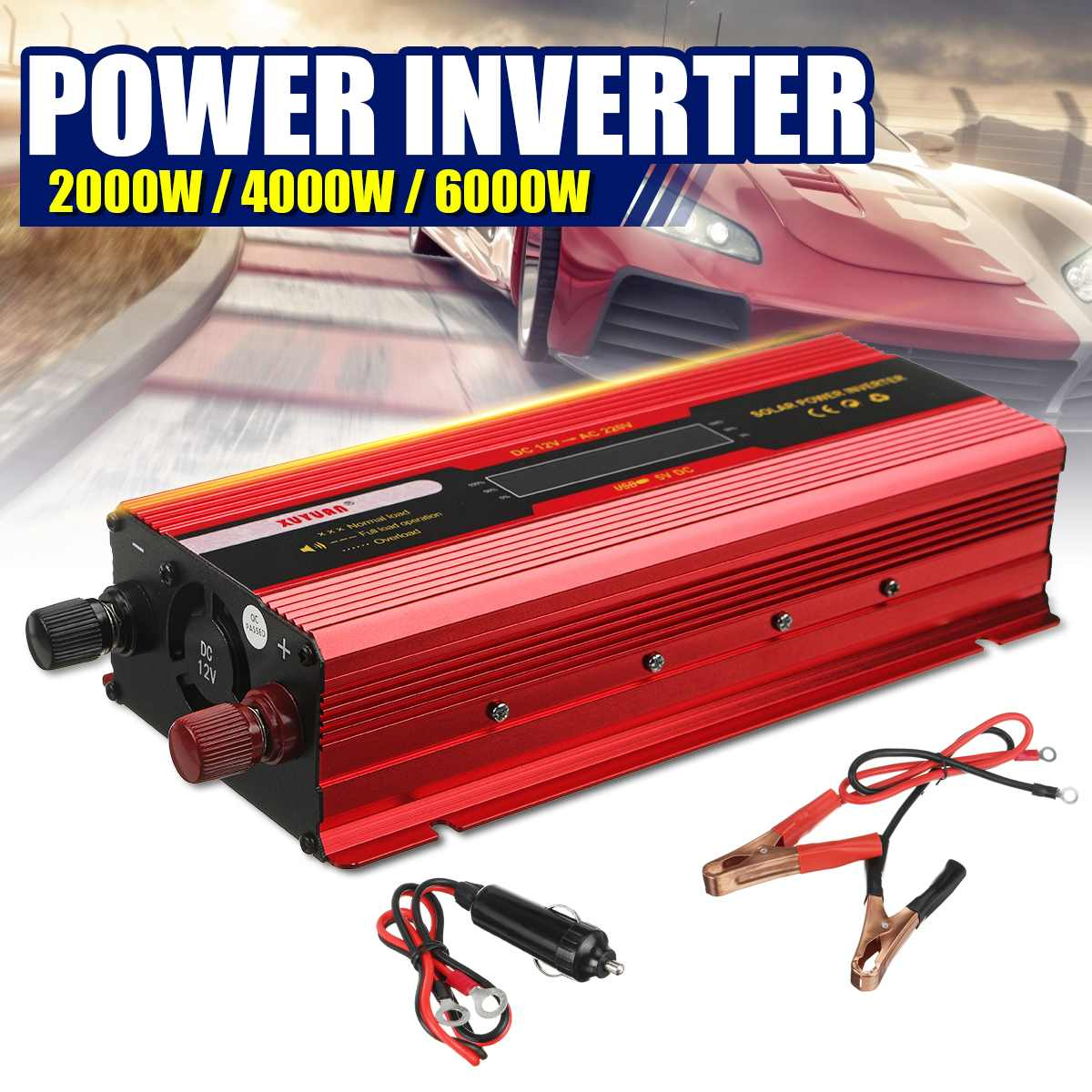Auto <font><b>Inverter</b></font> DC 12V zu AC <font><b>220V</b></font> power <font><b>inverter</b></font> Modifizierte Sinus Welle 2000 W/4000 W/ 6000W LCD display Solar USB auto Transformator Konvertieren image
