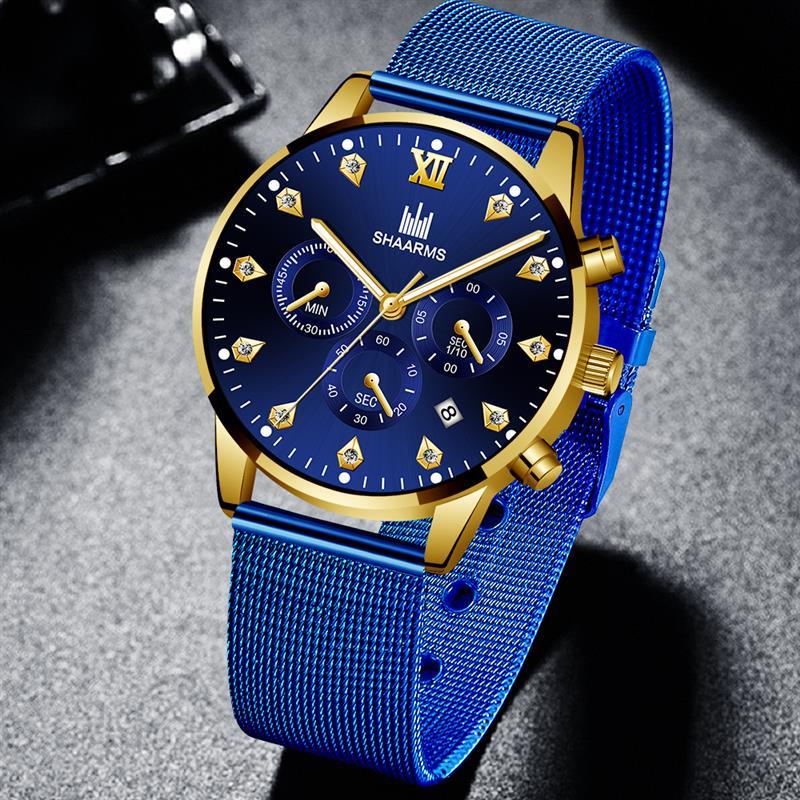 SHAARMS Men Business Diamond Watch Mesh Band Stainless Steel Quartz Wristwatch Male Sport Date Luxury Watches Relogio Masculino