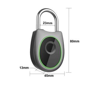 Image 4 - Taşınabilir akıllı parmak izi kilidi elektrikli biyometrik kapı kilidi USB şarj edilebilir IP65 su geçirmez ev kapı çanta valiz kilidi