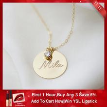 ゴールドディスクネックレス手作り頭文字ネックレスコインチョーカーゴールド充填ペンダントコリアーファムkolyeジュエリー自由奔放に生きるネックレス