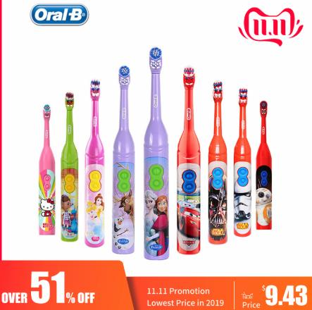 OralB Children Electric Toothbrush Gum Care Rotation Vitality Cartoon Oral Health Soft Tooth Brush for Kids Battery Powered image