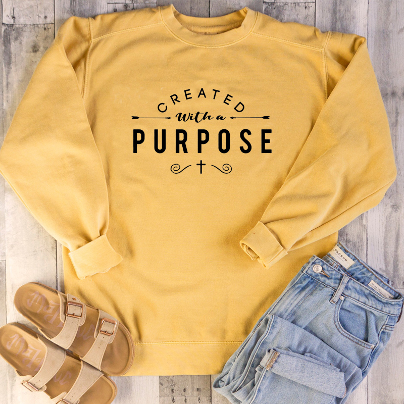 Created With A Purpose Sweatshirt Christian Plus Size Hoodie Cross Graphic Women Causal Pullovers Jesus Clothes Drop Shipping