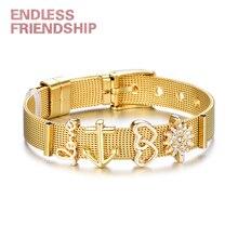 Endless Friendship Hot Selling Women Rhinestone Love Anchor Beads Adjusted Pan Bracelet Stainless Steel Mesh Belt