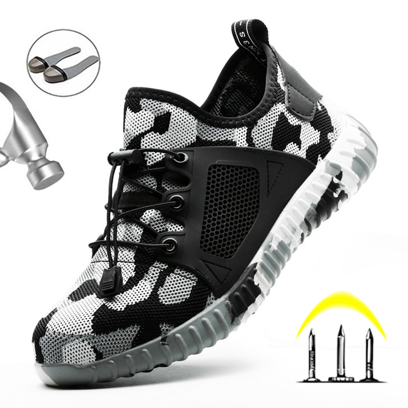 Men'S Shoes Breathable Safety Shoes Lightweight Breathable Work Safety Boot Puncture-Proof Camouflage Indestructible Shoes