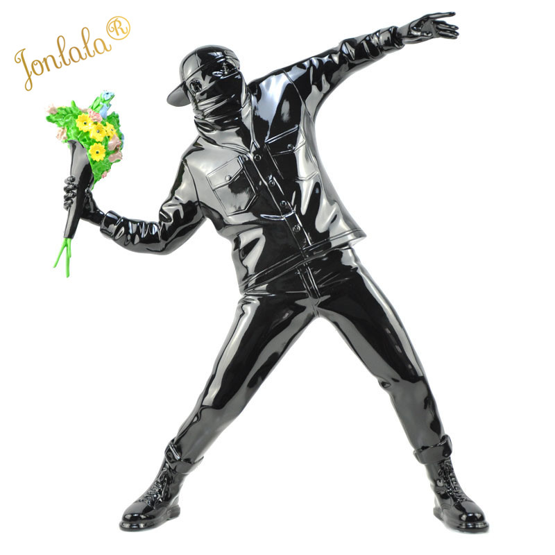 Banksy Flower Bomber Resin Figurine England Street Art Sculpture Statue Bomber Polystone Figure Collectible Art