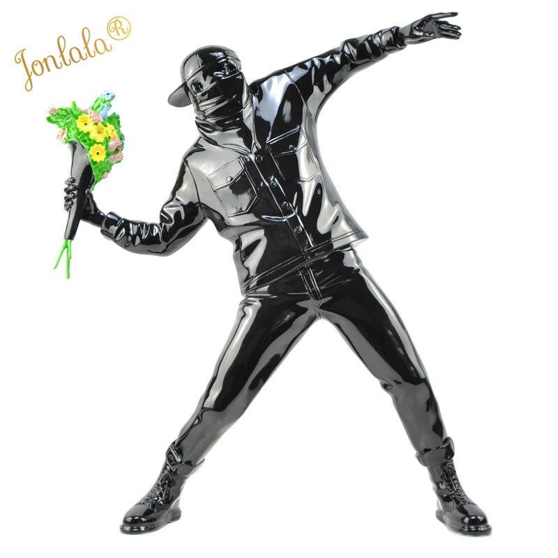 Banksy fleur bombardier résine Figurine angleterre rue Art Sculpture Statue bombardier Polystone Figure Art de collection