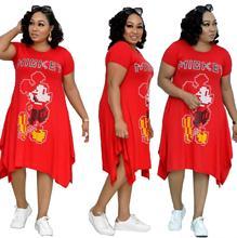 African clothing cartoon print irregular dress office women plus size dress red blue casual loose letter print comfortable fabri plus cartoon print tee dress