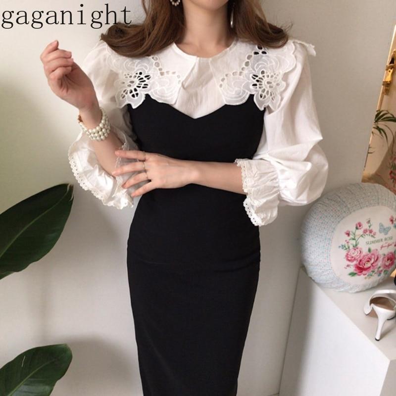 Gaganight Elegant Vintage Women Two Pieces Set White Hollow Out Shirt Black Sleeveless Maxi Sexy Dress Plus Size Spring Fashion