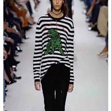 Cosmicchic 2019 Fall Winter Cashmere Knitting Stripe Dinosaur Embroidery Sweater Runway High Quality Long Sleeve pullovers