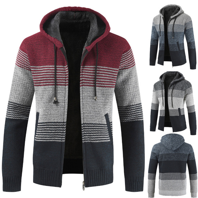 Autumn Winter Men's Hooded Sweater Cardigan Men's Korean Version Of The Trend Of Loose Plus Velvet Thick Color Matching Sweater