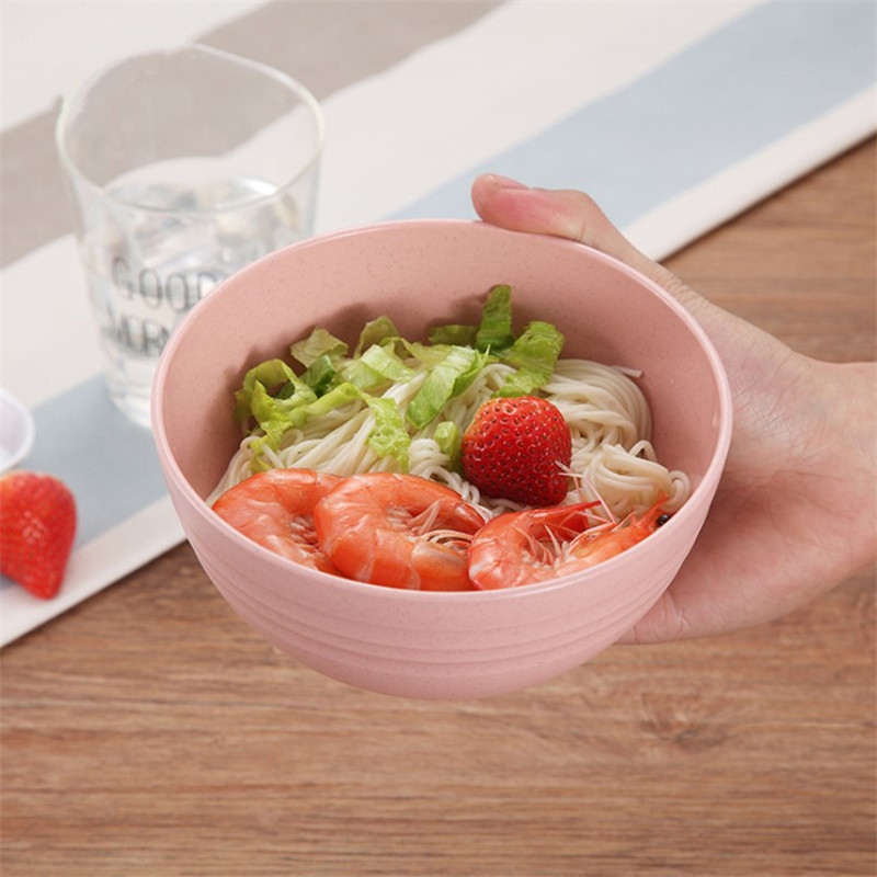 1 PC Colorful Wheat Straw Rice Noodle Salad Bowl Plate Sauces Plate Snacks Dish Eco friendly Kitchen Tableware in Bowls from Home Garden