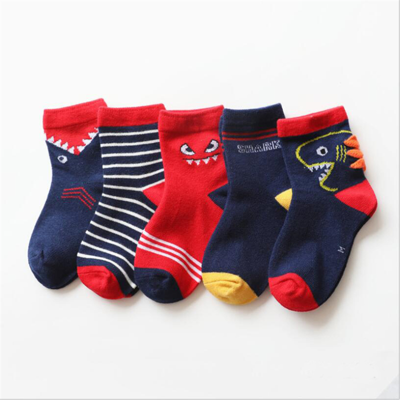 5Pair/lot Children Cotton Boys Girls Socks Cute Cartoon Pattern Kids Socks For Baby Boy Girl Sport Style Suitable For 1-10Y 1