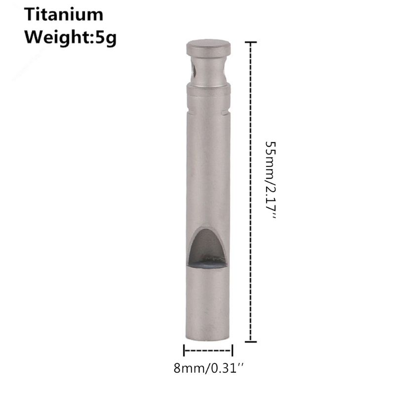 Pure Titanium Survival Whistle Outdoor Camping Hiking High Frequency Whistle With Cord G99D