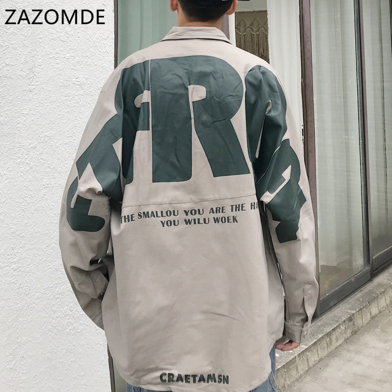 ZAZOMDE Letter Printed shirt Men long sleeve Korean style trendy handsome loose casual lazy style jacket all-match hip hop shirt