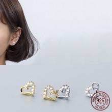 La Monada Cute Heart Women Stud Earrings Real 925 Sterling S