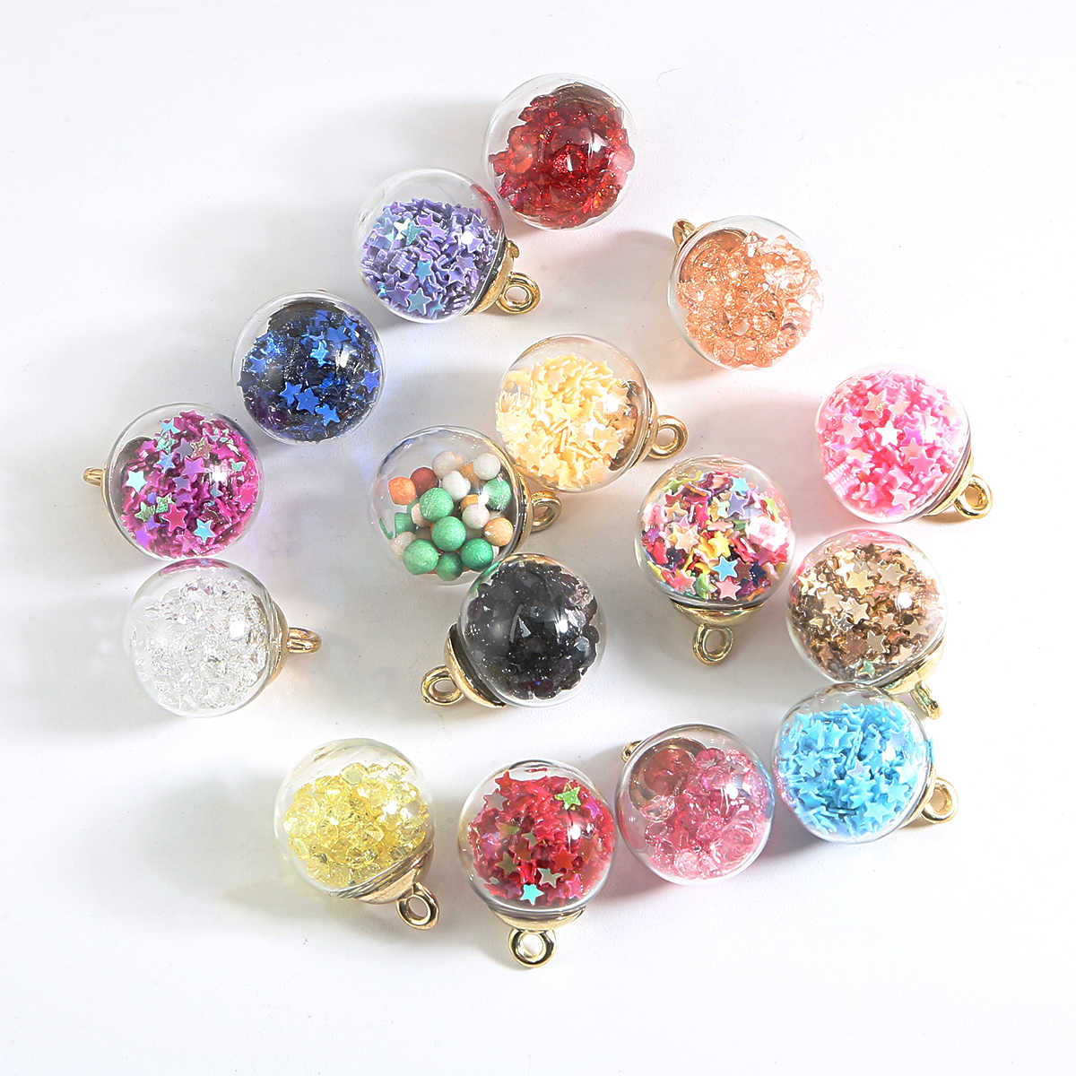 10pcs/lot 15mm Transparent Glass Ball Charm Pendant For Bracelet Necklace Jewelry Making DIY Earring Finding