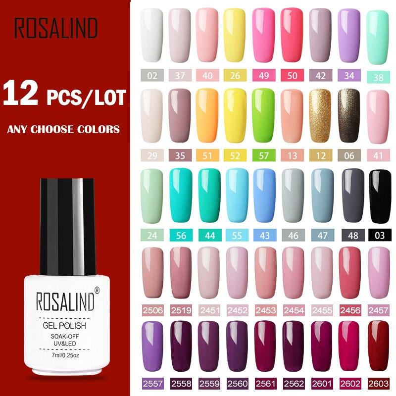 (12 unids/set) Conjunto de esmaltes de uñas de Gel ROSALIND para Kit de extensión de uñas Gel lacado UV lámpara LED de diseño acrílico juego de manicura de uñas|Conjuntos y kits|   - AliExpress