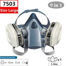 Tamanho grande 7503 9-em-1 respirador conjunto de segurança profissional meia peça facial máscara reutilizável anti gás poeira pintura terno