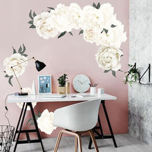 White Peony Wall Stickers for Living room Bedroom Self-adhesive Vinyl Flower Wall Decals Eco-friendly Removable DIY Wall Murals removable green leaf wall stickers for living room bedroom door self adhesive refrigerator diy wall decals vinyl art wall murals