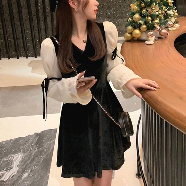 French Vintage Mini Dress Women 2021 Spring Lace Bow Velvet Evening Party Dress Female Y2k Casual Kawaii One Piece Dress Korean 1