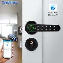Serrure de porte intelligente biométrique à empreintes digitales, Bluetooth, application TTlock, serrure à poignée électronique sans clé, Wifi, Alexa, fer/bois