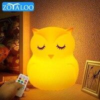 LED Nacht licht Nette Silikon Eule Lampe Touch Sensor Fernbedienung 9 Farben Wiederaufladbare Nacht Cartoon Lampe für Kind Schlafzimmer