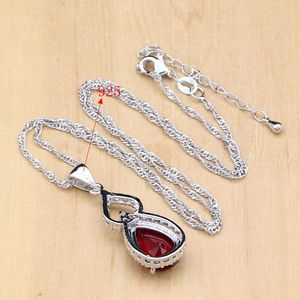 Image 5 - Water Drop 925 Sterling Silver Jewelry Red CZ Stone Jewelry Sets Women Earrings/Pendant/Necklace/Open Rings/Bracelet