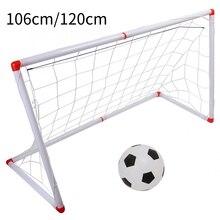 106/120cm indoor ao ar livre mini crianças futebol objetivo post net conjunto com bomba de bola crianças esporte brinquedo oficial tamanho