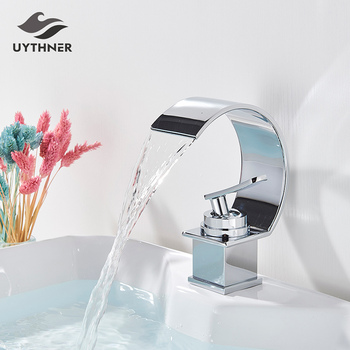 Basin Faucets Bath Basin Mixer Faucet Creative Waterfall Water Outlet Bathroom Vessel Sink Mixer Taps Hot and Cold Water Mixer 9