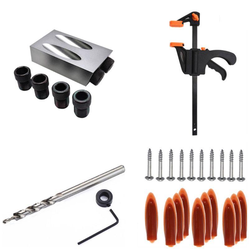 31pcs/set Woodworking Pocket Hole Jig 6/8/10mm Oblique Hole Locator Positioner Drilling Bits Jig Clamp Woodworking Kit For DIY