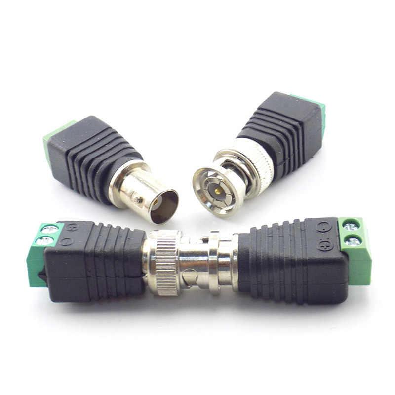 12V DC Power męskie żeńskie gniazdo przejściówka wideo Balun konwerter złącze BNC do taśmy Led lekki aparat złącze zasilania