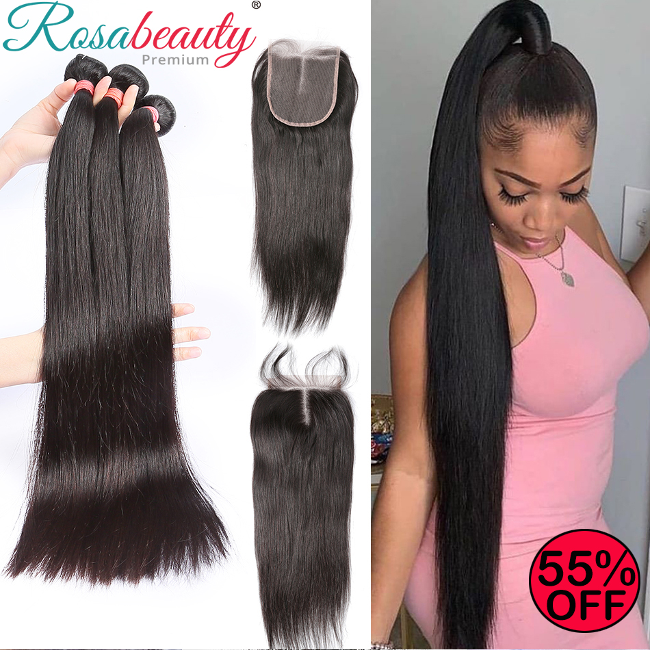 Rosabeauty Straight 8-28 30 32 40 Inch Brazilian Hair 3 4 Weave Bundles With 4X4 Lace Closure Frontal Preplucked Human Hair Wigs