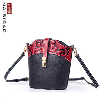 Women Genuine Leather bag  2020 New Chinese Style Crossbody Bag Head layer leather shoulder bag Mini bucket bag