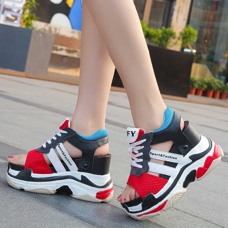 Lucyever 2019 yaz kadın Sneaker sandalet Peep-toe takozlar Platform ayakkabılar kadın klasik dantel kadar rahat tıknaz Sandalias sarmaşık