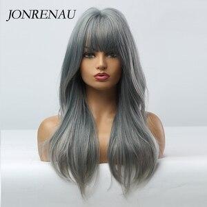 Image 2 - JONRENAU Cyan pelucas de cabello sintético degradado para mujer, pelo largo y liso, Color gris, con explosión, para Cosplay o fiesta