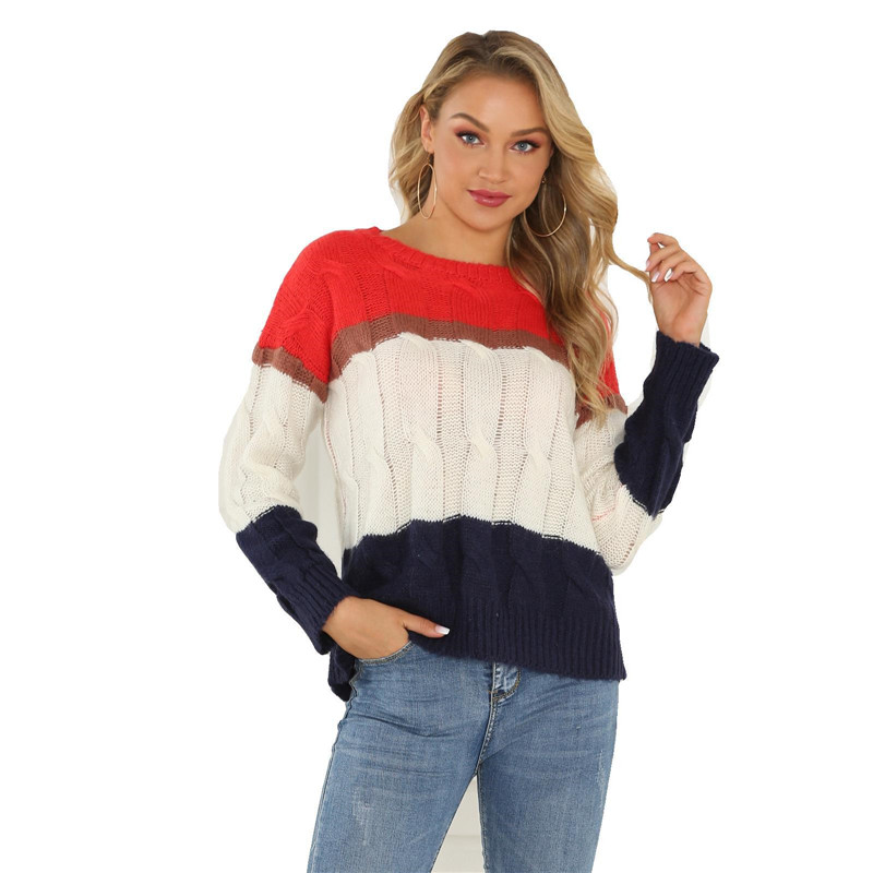 CHRLEISURE Charm splice colour Sweater woman Thicken temperament Candy colors feminine sweaters Loose Winter