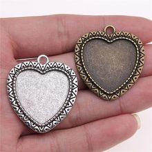 WYSIWYG 4 adet 25mm iç boyutu 2 renkler antik bronz antik gümüş renk kalp şekli Cameo Cabochon bankası ayarı charms kolye