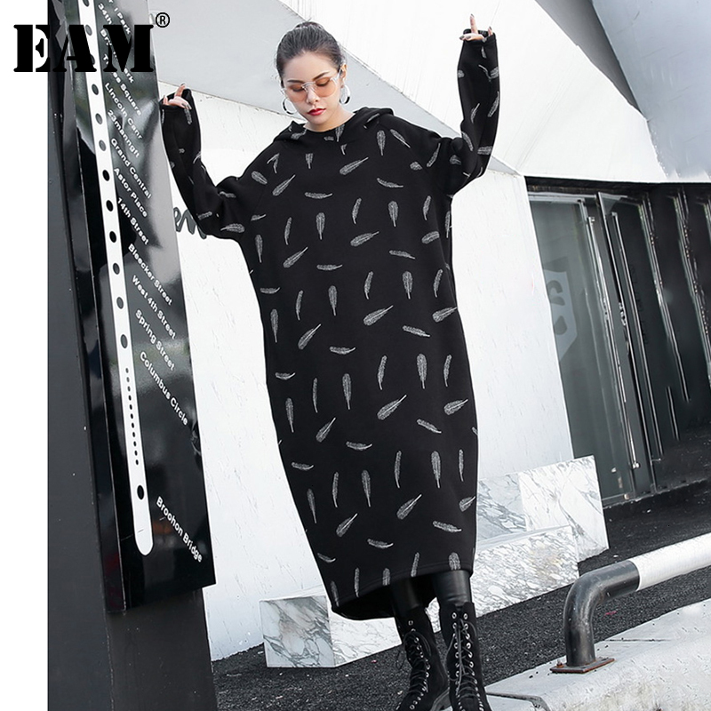 [EAM] Women Pattern Printed Long Big Size Sweatshirt Dress New Hooded Long Sleeve Loose Fit Fashion Spring Autumn 2020 1H726