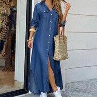 Модное женское платье-рубашка с длинным рукавом, осенние длинные платья с принтом OL, свободный сарафан с отложным воротником, вечерние платья 3